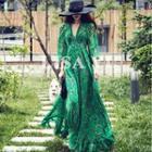Printed Ruffle Chiffon Maxi Dress