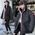 Lettering Hooded Padded Fleece-lined Zip Jacket