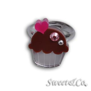 Mini Brown Cupcake Crystal Silver Ring