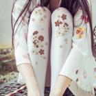 Floral Tights Sakura - White - One Size