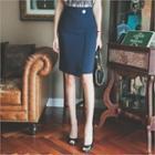 Metal-button Trim Pencil Skirt