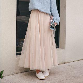 Maxi A-line Mesh Skirt