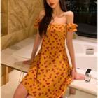 Floral Cold Shoulder A-line Dress / Midi Dress