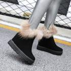 Furry Trim Hidden Wedge Ankle Boots