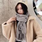 Plain Knit Scarf Gray - One Size