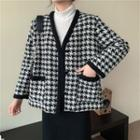V-neck Houndstooth Jacket Houndstooth - Black & White - One Size