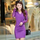 Long-sleeve Lace Panel Pleated Sheath Dress