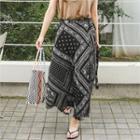 Patterned Maxi Surplice-wrap Skirt