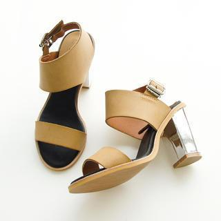 Faux-leather Chunky-heel Sandals