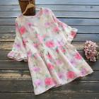 Elbow-sleeve Floral Print Tunic Top Pink - One Size