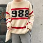 Letter Stripe Long-sleeve Knit Top