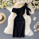 Off Shoulder Plain Sheath Dress