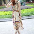 Sleeveless Patterned Chiffon Sun Dress