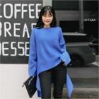 Drop-shoulder Cut-out Hem Sweater