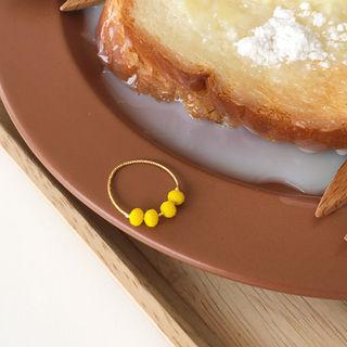 Beaded Slim Ring Yellow - One Size