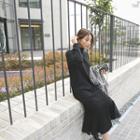 Mock-neck Ruffle-hem Long Knit Dress