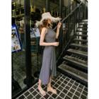 Set: Halter-neck Striped Top + Wrap-front Midi Skirt