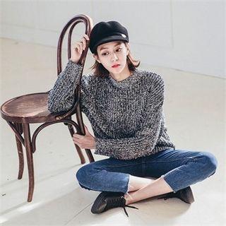 Crew-neck Glitter Furry-knit Sweater