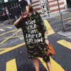 Short Sleeve Camouflage Printed T-shirt Dress