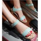 Faux-leather Velcro Flat Sandals