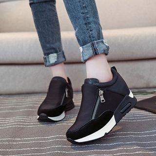Color Block Platform Zip Detail Sneakers