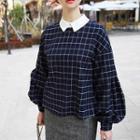 Contrast-collar Check Blouse