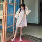 Striped Polka Dot 3/4-sleeve A-line Dress