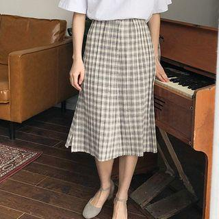 Plaid Accordion Pleated Skirt