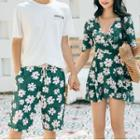 Couple Matching Short Sleeve V-neck Floral Print Swimdress / Swim Shorts