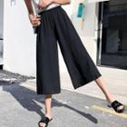 Chiffon Wide-leg Capri Pants