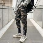 Letter Print Camouflage Cargo Pants