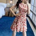 Sleeveless Dotted Chiffon A-line Mini Dress