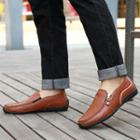 Genuine-leather Zip Loafers