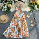 Open-back Halter Chiffon Dress