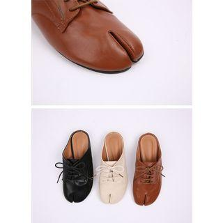 Split-toe Lace-up Flat Mules