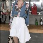 Long-sleeve Printed Chiffon Blouse / Asymmetric A-line Skirt