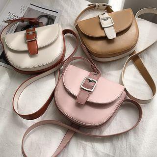 Two-tone Belted Saddle Crossbody Bag