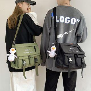 Buckled Lettering Embroidered Messenger Bag