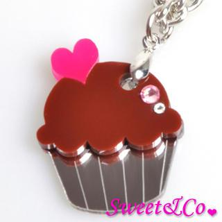 Sweet&co Mini Chocolate Cupcake Crystal Silver Necklace Silver - One Size