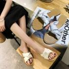 Faux Leather Bow Slide Sandals