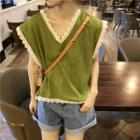Lace Trim Sleeveless Top Green - One Size