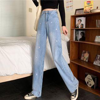 Embroidered Straight-fit Jeans / Belt / Set