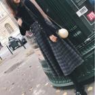 Plaid A-line Midi Jumper Skirt