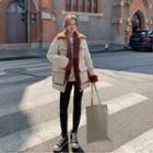 Contrast Trim Furry Jacket