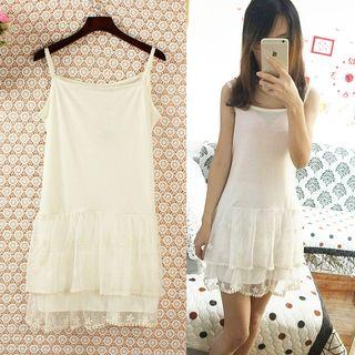 Embroidered Tiered Strap Lace Dress