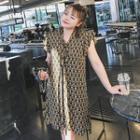 Print Frilled Sleeveless Chiffon Dress
