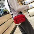Faux Leather Buttoned Crossbody Bag