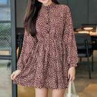 Long-sleeve Floral Print A-line Minidress
