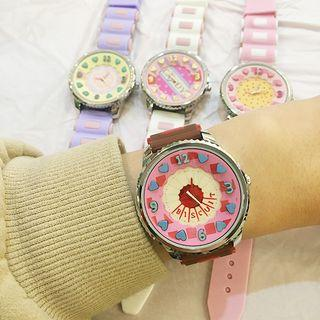 Cartoon Print Lettering Silicone Strap Watch