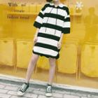 Elbow-sleeve Striped Hooded Dress